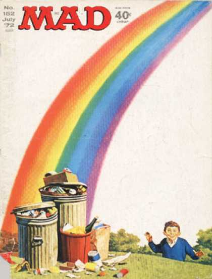 Mad 152 - Rainbow - Trash - Garbage Cans - Grass - Overflowing