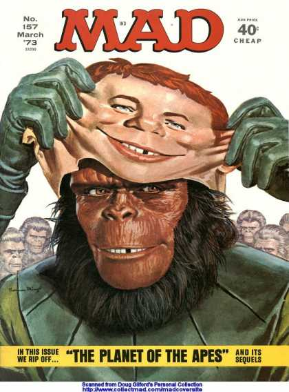 Mad 157 - Planet Of The Apes - No 157 - 40u00a2 - Green Gloves - Missing Tooth