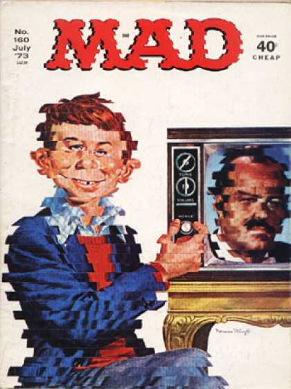Mad 160 - Red-headed Boy - Royal Blue Jacket - Television Set - Adjusting Control Knob - Checked Effect