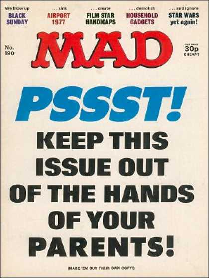 Mad 190 - Pssst - Black Sunday - Airport 1977 - Household Gadgets - Star Wars