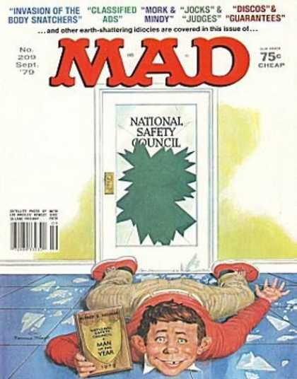 Mad 209 - Door - Broken Glass - National Safety Council - September - Classified Ads