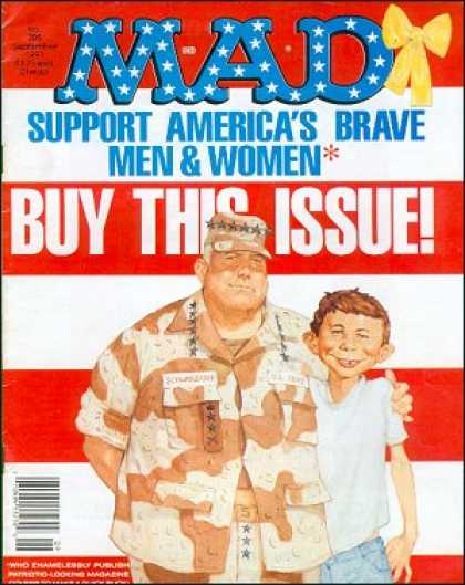 Mad 305 - Support Americas Brave Men U0026 Women - Buy This Issue - Army Man - Yellow Bow - Red White Stripes