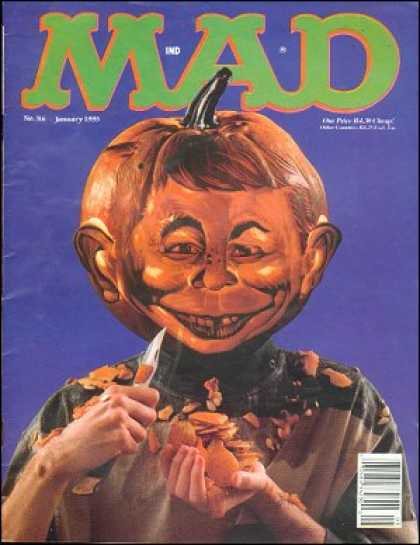 Mad 316 - Pumpkin - Alfred E Neumann - Knife - Pumpkin Head - No 36