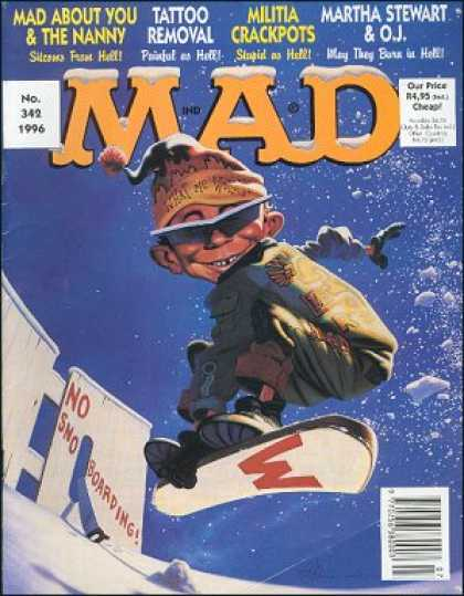 Mad 342 - Martha Stewart - Tattoo Removal - Alfred E Neuman - The Nanny - Snowboarding