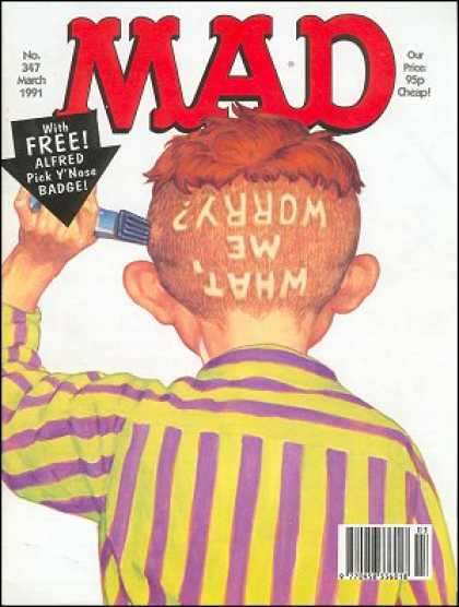 Mad 347 - Alfred E Newman - What Me Worry - Hair - Razor - Clippers