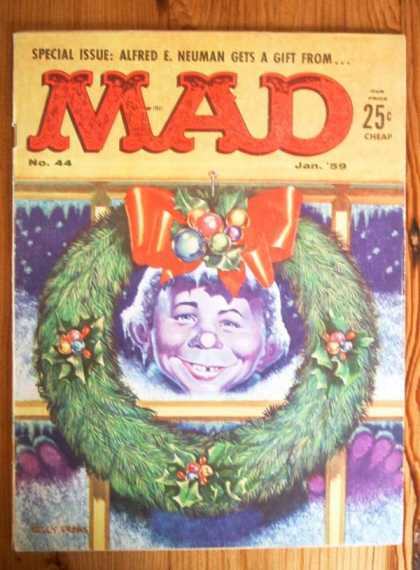 Mad 44 - Wreath - Christmas - Window - Alfred E Neuman Gets A Gift - Holiday