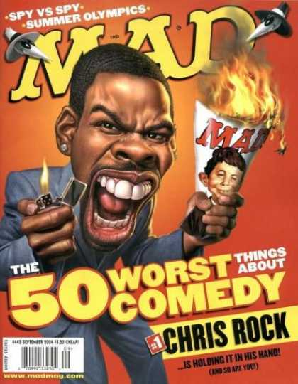 Mad 445 - Alfred E Neuman - Chris Rock - Lighter - Fire - Burning Magazine