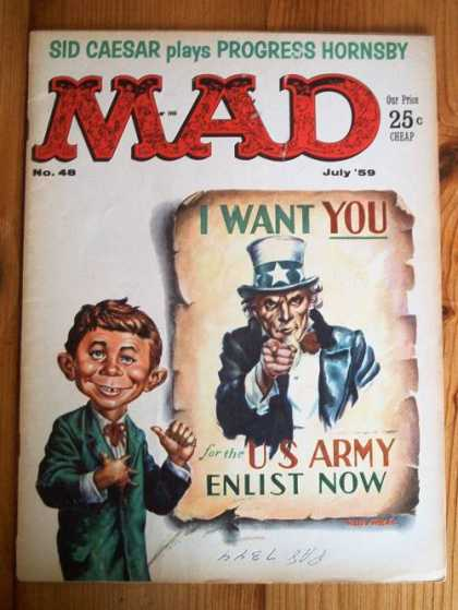 Mad 48 - Uncle Sam - Sid Caesar - Poster - Us Army - I Want You