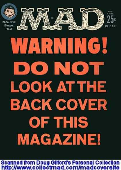Mad 73 - Warning - Do Not Look At The Back Cover Of This Magazine - No 73 - Kids Head - Black Backgorund