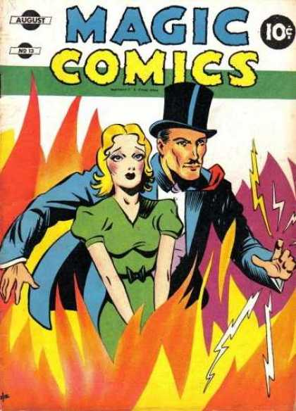 Magic Comics 13 - Fire - The Magician And His Assistant - The Woman In The Green Dress - Lightning Strike - Painful Magic