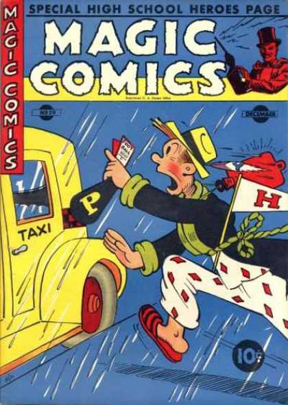 Magic Comics 29 - Special High School Heroes Page - Taxi - Man - Rain - Flag