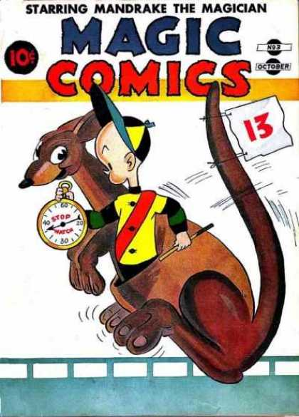 Magic Comics 3 - Time Trial - Kangaroo - Stop Watch - Riding Crop - Jockey
