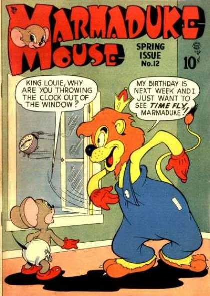 Marmaduke Mouse 12 - Alarm Clock Flying Out Window - Cat And Mouse - Cat With Clothes On - Mouse In Diaper - Cat And Mouse Talking