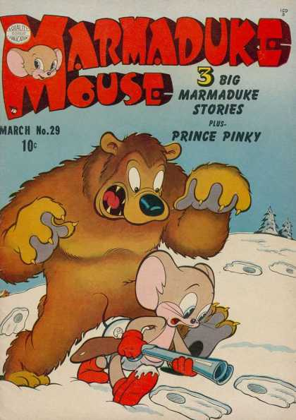 Marmaduke Mouse 29 - March No 29 - Bear - Trees - Snow - Foot Prints
