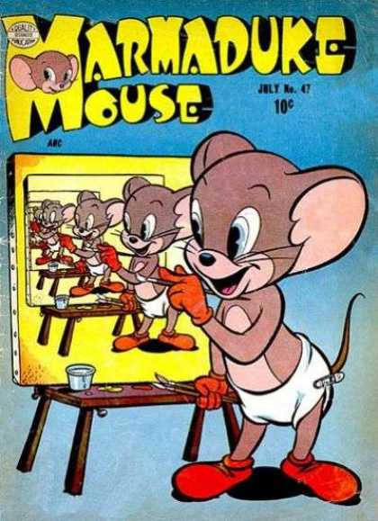 Marmaduke Mouse 47 - Painting - Diaper - Paint Brushes - Easel - Smiling Mouse