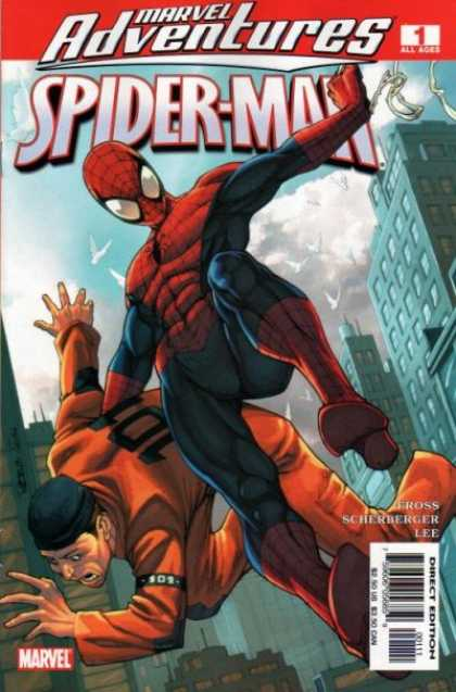 Marvel Adventures Spider-Man 1 - Orange Uniform - Tall Buildings - Red And Blue Outfit - Masked Face - Criminal