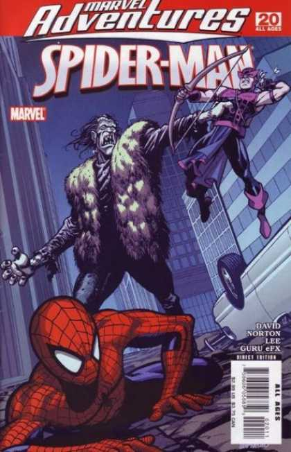 Marvel Adventures Spider-Man 20 - Bow And Arrow - Fur Vest - Overturned Car - Building - David Norton - Cameron Stewart, Christina Strain