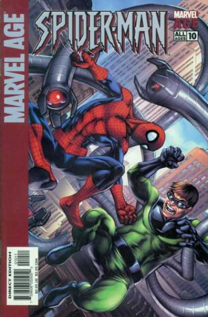 Marvel Age Spider-Man 10 - Dr Otto Octavius - Black Belt - Green Suit - Black Glasses - Building