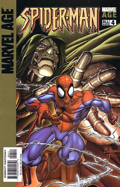 Marvel Age Spider-Man 4 - Fantasy Art - Mechanical Menace - Spiderman Protecting Himself - Men Wearing Odd Costumes - Spiderman Is Dwarfed By The Machine