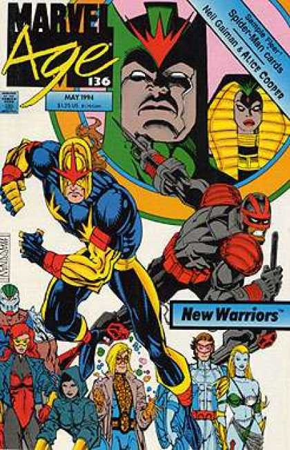 Marvel Age 136 - New Warriors - May 1994 - Neil Gaiman - Alice Cooper - Spider-man