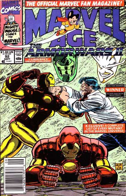 Marvel Age 92 - Marvel Comics - The Official Marvel Fan Magazine - Iron Man - Man - Mighty Mouse - John Romita