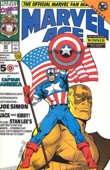 Marvel Age 95 - Captain America - Flag - 50th Anniversary - Shield - Issue 95 - Ron Lim