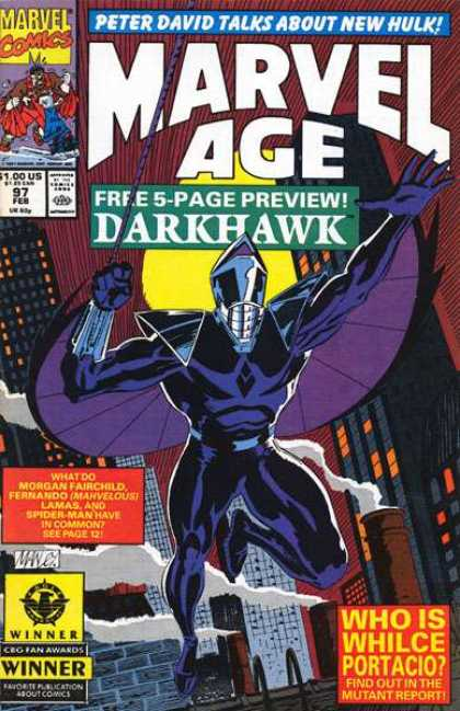 Marvel Age 97 - Peter David - Darkhawk - Whilce Portacio - Mutant Report - Spider-man - Mike Manley