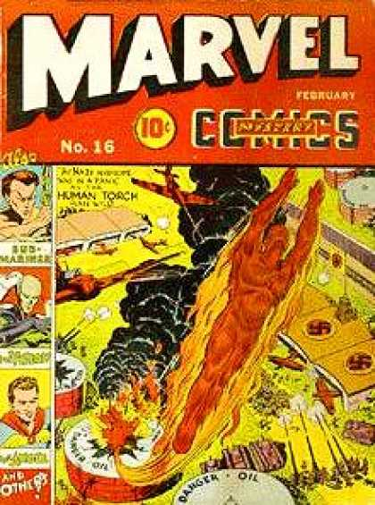 Marvel Comics 16 - Flames - Airplanes - Black Smoke - Hangars - Nazi