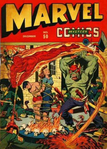 Marvel Comics 50 - Mystery - No 50 - Red Flame - Green Monster - Tied Up