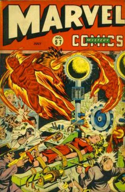 Marvel Comics 57 - Lab - Woman - Mad Scientist - Fire Character - Gun