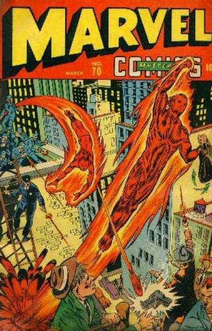 Marvel Comics 70 - Fire Man - Gun - Buildings - People - Hat
