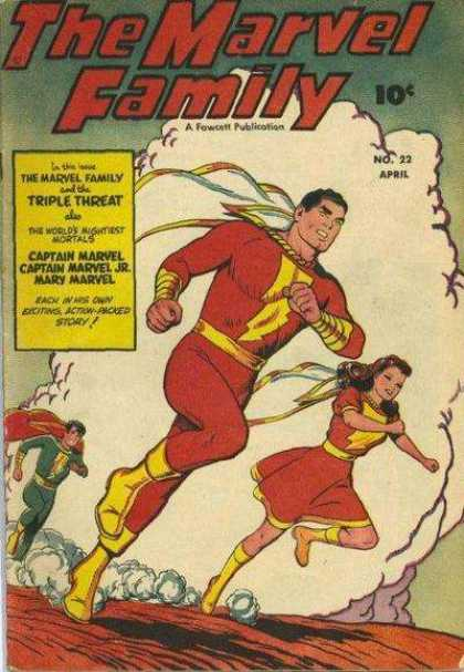 Marvel Family 22 - Fawcett Publication - Triple Threat - Captain Marvel - Mary Marvel - Capes