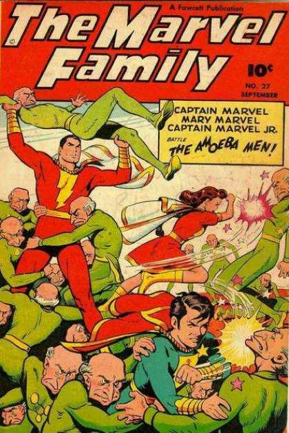Marvel Family 27 - Captain Marvel - Mary Marvel - Captain Marvel Jr - Amoeba Men - Fighting
