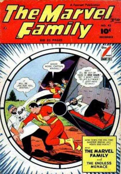 Marvel Family 42 - Shazam - Captain Marvel - Mary Marvel - Trio - Jail
