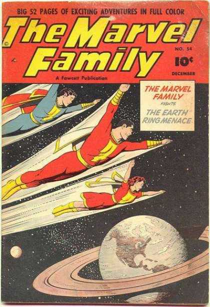 Marvel Family 54 - The Earth Ring Menace - Superman - Sky - Stars - Space