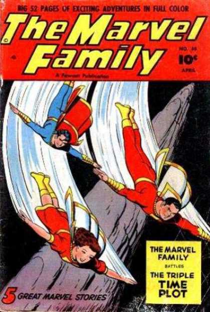 Marvel Family 58 - Escalating Down With Arms Spread - Capes - Steep Stone Column - Dad - Boy And Girl