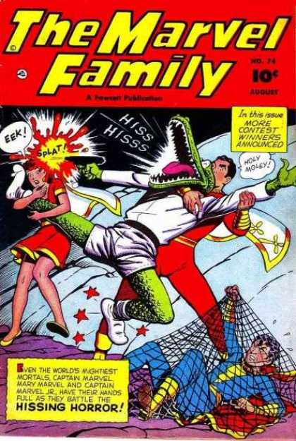 Marvel Family 74 - Hissing Horror - More Contest Winners - Eek - Splat - Alligator