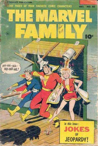 Marvel Family 88 - October - 10 Cents - Fawcett - Jokes Of Jeopardy - Superheros
