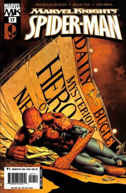 Marvel Knights Spider-Man 17 - Words - Letters - Light - Yellow - Mask - Morry Hollowell, Steve McNiven