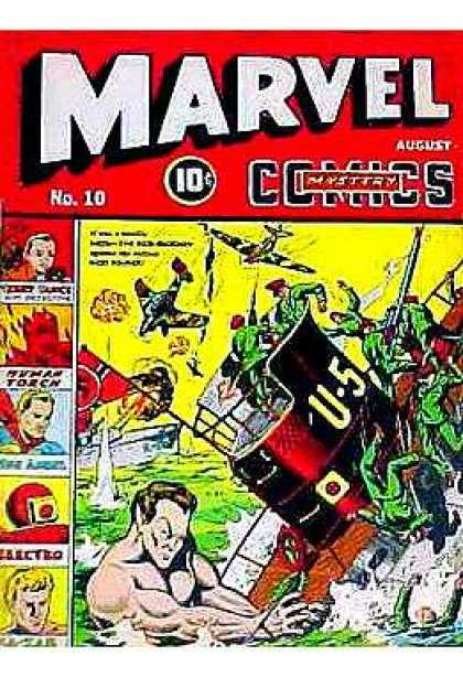 Marvel Mystery Comics 10 - No 10 - Ship Sinking - Giant Man - Planes - August