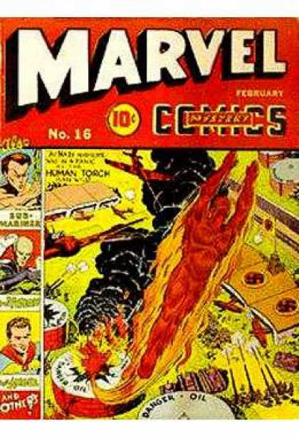 Marvel Mystery Comics 16 - Human Torch - Sub-mariner - February - 10 Cents - Oil