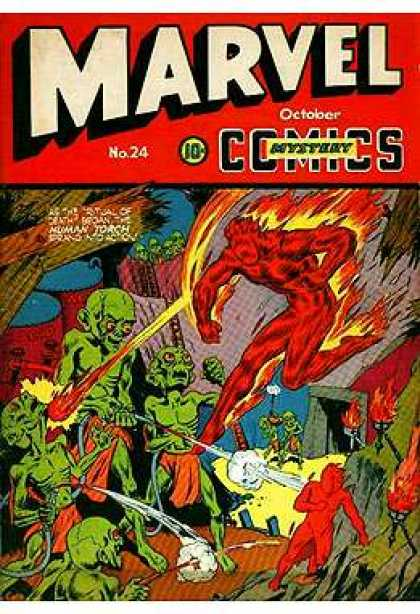 Marvel Mystery Comics 24 - Lava Man - Fire Man - Lava People - Fire Started - Fire Controler