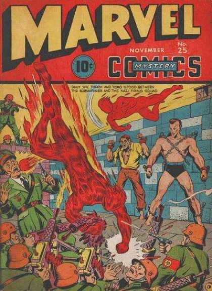 Marvel Mystery Comics 25 - 10 Cents - November - Flames - Military - Guns