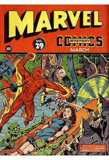 Marvel Mystery Comics 29 - Table Saw - Woman - Prisoner - Goblins - Hooded Men
