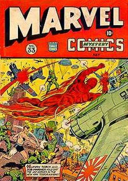Marvel Mystery Comics 33 - Plane - Guns - Explosion - Flaming Man - Soldier