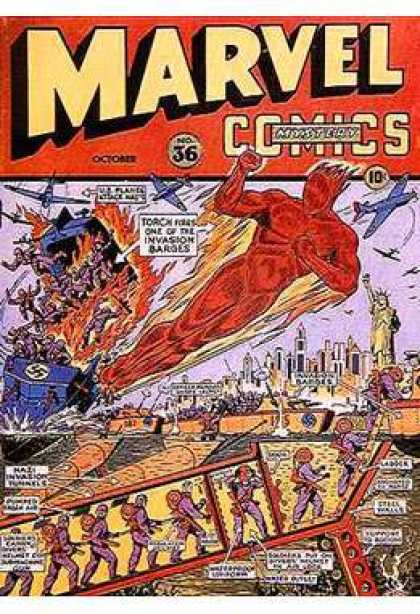 Marvel Mystery Comics 36 - Torch - Aeroplanes - Statue Of Liberty - City - Tallest Buildings