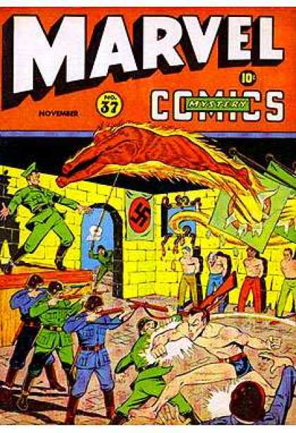 Marvel Mystery Comics 37 - No 37 - November - 10 Cents - Swatzika Symbol - Man Lined Up Againas The Wall