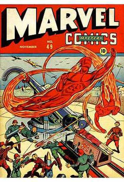 Marvel Mystery Comics 49 - Airplane - Bullets - Helmet - Fire - Gun