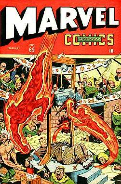 Marvel Mystery Comics 69 - Midieval Times - Guillotine - Human Torch - Fight Arena - Axe