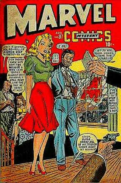 Marvel Mystery Comics 87 - Woman In Red Dress - Man In Suit - Aug No 87 - 10 Cents - Hand With Gun